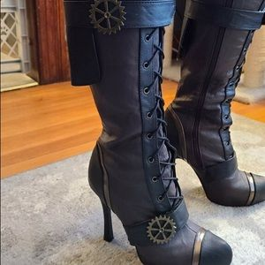 Knee high steampunk leather boots